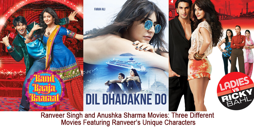 Ranveer singh and Anushka sharma movies: Three different movies featuring Ranveer's unique characters